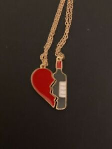 StEampunk Broken Heart With Wine Grunge 2 In 1 Pendant Quirky Necklace
