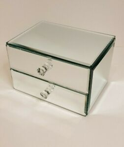 3 Drawer Mirrored Glass Jewellery Box