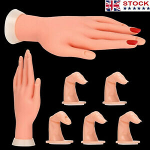 Practice Nail Art Trainer Training Hand Acrylic Gel False Tool + 5 Finger Model