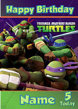 - TURTLES TMNT  - IDEAL FOR SON GRANDSON CHILDREN'S PERSONALISED BIRTHDAY CARD