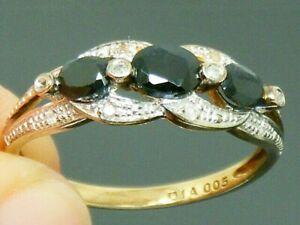 9ct Gold Sapphire & Diamond Ring size P