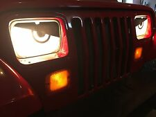 87-96 Jeep Wrangler YJ, XJ Comanche Cherokee Angry Eyes Mad Headlight Decal COOL