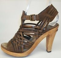 Michael Kors Womens US 6 M Brown Woven Strappy Leather Ankle Strap Heel Sandals