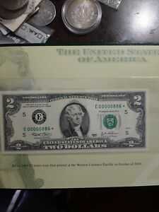 (10) pristine RARE LOW NUMBER 2003 2 DOLLAR STAR NOTES 00000886* from 16,000 run