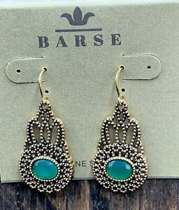 Barse Nova Oval Stone Earrings- Emerald Quartz & Bronze- NWT
