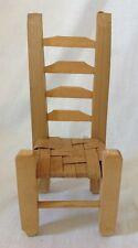 "Vtg Wood Doll Chair Ladder Back Kitchen Rush Woven Seat Handmade? Wooden 9-1/4"""