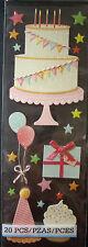 NEW 20 pc CAKE & CUPCAKE BIRTHDAY Balloons Bow MARTHA STEWART CRAFTS 3D Stickers