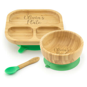 Personalised Bamboo Childrens Dining Set Plate Spoon & Bowl - Custom Engraved