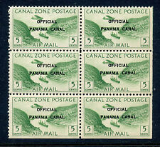 Canal Zone Scott CO1 MINT BLOCK w/ Pos 45 'O OVER A' AND Pos 50 'F OVER A' VAR'S