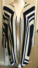 CHICOS Easywear Womens Open Cardigan Sweater Size 3 (XL/16) BLUE Yellow Stripe