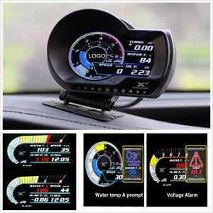 Car Turbo Boost Oil Pressure Multifunction Gauge OBD2 Digital Display Water Temp