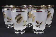 5 Libbey Frosted Gold Leaf 10 Ounce Tumblers Rounded Shape Mid Century Barware