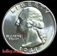 1941-S 25C Washington Silver Quarter  BU ~Scarce in this Condition~
