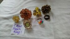 Joblot Costume Jewellery Rings gold tone rhinestone flowers