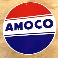 "AMOCO Gasoline Oil Old Logo Aluminum Metal Sign 12"""