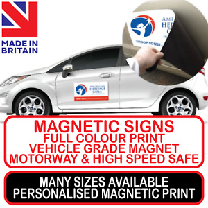 2x MAGNETIC SIGN OR STICKER CAR TAXI VAN TRUCK BUSINESS MINIBUS COLOUR PRINTED