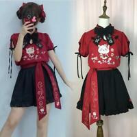 Embroidery Cat Japanese Harajuku Girls Summer Cos Lolita Sweet Blouse Top Shorts