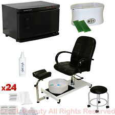 Black Pedicure Chair Hot Towel Warmer Sterilizer Paraffin Wax Salon Equipment