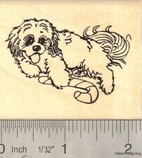 Christmas Dog with Candy Cane Rubber Stamp H15510