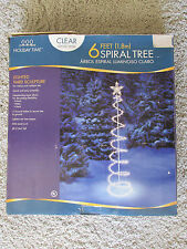6FT LIGHTED SPIRAL TREE CHRISTMAS YARD/OUTDOOR DECORATION CLEAR WHITE WIRE W/BOX