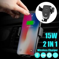 15W Qi Wireless Fast Charger Car Stand Air Vent Mount Phone Holder Automatic