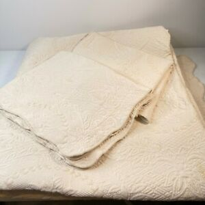 Bay Colony Home coverlet queen beige matelasse vine floral scalloped trim shams