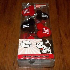 NEW Set 12 Disney Red Black Mickey Mouse Head Ears Shower Curtain Hooks