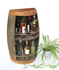 Weinregal Holz Weinfass Braun 9001-R Halbrund Flaschenregal Flaschenständer Fass