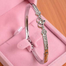 Wholesale Stylish Crystal Rhinestone Heart Bangle Silver Plated Bracelet Jewelry