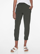 ATHLETA Soho Cropped Jogger 10P (M PETITE) in Black Olive | Travel Fitness Pants