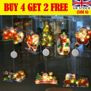 Christmas Window Hanging LED Light Xmas Ornament With Suction Cup Home Decor UK-