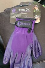Hands On Wet/Dry Grooming Shedding Bathing Gloves for Pets, Horse Large -purple