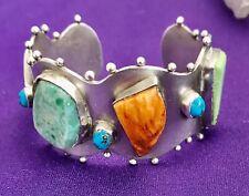 VICTORIA MAASE STOLL STERLING SILVER CUFF BRACELET Multi Color Bezel Set Stones