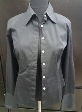 Talbots Black Stretch Button Down Button Up Dress Shirt Top Blouse Sz 10 Worn 1x