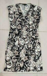 WOMENS PERRI CUTTEN Dress Size L White Grey Black Pattern VGC