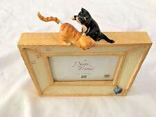 "Figi Yellow Black 8X8"" Cat & Mouse Figurine Frame Holds 4X6"" Photo"