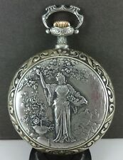 Antique HOLY FRERES Silver Plated 51mm Pocket Watch. Egyptian Woman. Ca 1900's