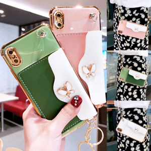 Leather Butterfly Diamond Card Case w/ Chain For iPhone 12 11 Pro Max XS XR 7 8