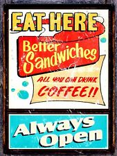 Eat Here Sign/Plaque Metal Door Sign Home Kitchen Food Cooking