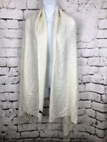 Solid Ivory Jacquard Pashmina Shawl and Wrap Stole Scarf With Fringe 78x27""