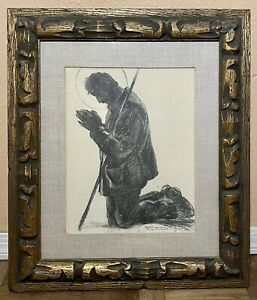 """Vintage """"The Legend Of San Isidro"""" By Peter Hurd 1938 Charcoal Print Framed"""
