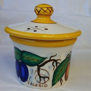 "Bella Casa By Ganz Valerio Sugar Bowl With Lid Fruit Pattern 4"" Tall"