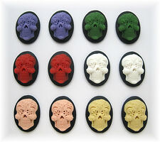 12 Goth Emo Day of Dead 6 Mixed Colors SUGAR SKULL 25mm x 18mm craft CAMEOS LOT