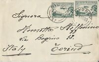 APH1010) Australia 1929 small surface mail cover to Torino, Italy. Bears 2 x 3d