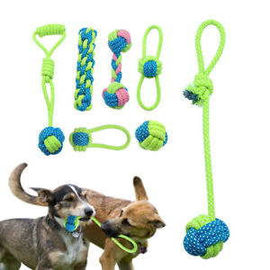 Braided Cotton Dog Chew Toy Interactive Cotton Rope Bite Tug Ball Teeth Cleaning