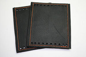 Black Deluxe Padded Leather Grip Covers for Heated HD Grips Choice Color Stitch