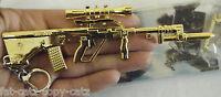 SOLID METAL GOLD BAYONET SNIPER ASSAULT RIFLE GUN KEYRING KEY CHAIN GIFT UKSELL