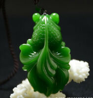 100% Natural Green jade pendant Necklace Amulet Lucky fish China Carving statue