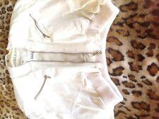 Leather Jacket Women L White Wilsons Leather  Bomber Biker  Hip Designer Fashion