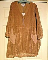 Pretty Angel lace tunic dress bell sleeve full flowing coffee color S/M & L/XL